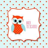 Cute owl with text Back to school, illustration Royalty Free Stock Photography