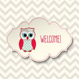 Cute owl with text welcome, illustration Royalty Free Stock Image