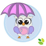 Cute owl with umbrella Royalty Free Stock Photography