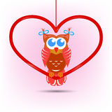Cute owl Valentine's day card Stock Images