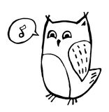 Cute owl. Vector doodle of cute singing owl isolated on white Stock Photography
