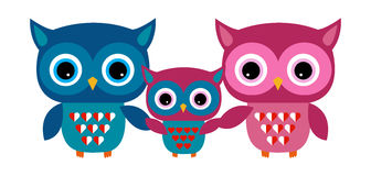 Cute Owl Vector Family with Heart Royalty Free Stock Photo