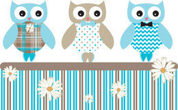 Cute Owl Vector Patterns Fence Stock Photography
