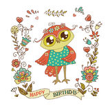 Cute owl with vintage frame Royalty Free Stock Image