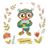 Cute owl with vintage frame for your design in doodle style. Stock Photography