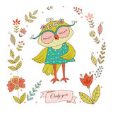 Cute owl with vintage frame for your design in doodle style. Stock Photos
