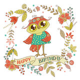 Cute owl with vintage frame Stock Images