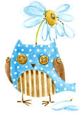 Cute owl. Watercolor bird owl. Birthday card. Cartoon bird. Stock Photos
