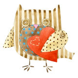 Cute owl. Watercolor bird owl. Valentines day card. Cartoon bird. Love card. Royalty Free Stock Photography