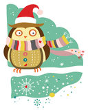 Cute Owl in Winter. Cute owl wearing winter accessories in a snow covered landscape royalty free illustration