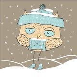 Cute owl winter snow. Stock Photos