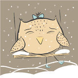 Cute owl winter snow. Royalty Free Stock Images