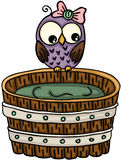 Cute owl with wooden tub for a bath. Scalable vectorial image representing a cute owl with wooden tub for a bath, isolated on white stock illustration