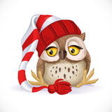 Cute owlet in a cap sits and wants to sleep Royalty Free Stock Photo