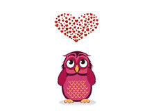 Cute owlet dreams of love. Owl looks at the heart top. Greeting Stock Images