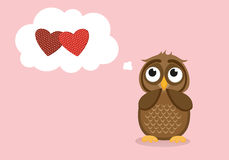 Cute owlet dreams of love. Owl thought. Greeting card Stock Photos
