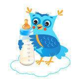 Cute Owlet With Milk Bottle. Welcome Baby Boy. Stock Photos