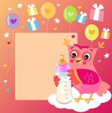 Cute Owlet With Milk Bottle. Welcome Baby Girl Card. Vector Illustration. Cute Owl Drawings. Cute Owl Cartoon. Cute Owl Picture For Kids. Welcome Baby Card Stock Photos