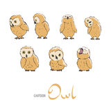 Cute owlet set Royalty Free Stock Photos