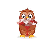 Cute owlet waiting to give a  of flowers of hearts as a gift Stock Photo