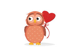 Cute owlet waiting to give heart a gift for Valentine`s Day. Stock Photography