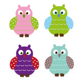Cute owls. Collection of four colorful and cute owls, isolated on white backgrund. They will bring you a lot of luck. Vector Stock Photo