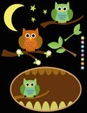 Cute Owls with branches, leaves, flowers, moon and stars Stock Images