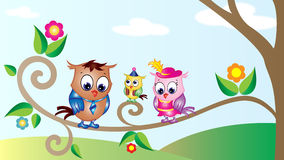 Cute Owls Cartoon Wallpaper Royalty Free Stock Photo