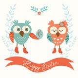 Cute owls couple Royalty Free Stock Photos