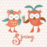 Cute owls couple Royalty Free Stock Photos