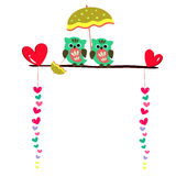 Cute owls couple sitting on a branch Royalty Free Stock Images