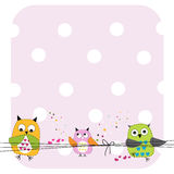Cute Owls Family Baby Shower greeting card vector Royalty Free Stock Photos