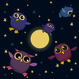 Cute owls are flying in the sky at night Royalty Free Stock Photo