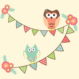 Cute owls hanging in flags Royalty Free Stock Images
