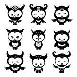 Cute owls icons Royalty Free Stock Images