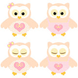 Cute owls. Illustration of two pairs of pink-peachy owls. Sleeping and not sleeping owls Royalty Free Stock Photography