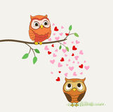 Cute owls in love Royalty Free Stock Photos
