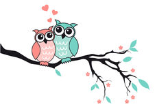 Cute owls in love, vector Royalty Free Stock Images