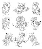 Cute Owls Outline Collection. With different emotions on white background isolated vector illustration Stock Photo
