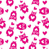 Cute owls pink silhouettes and hearts seamless pattern on a white background Stock Image