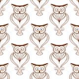 Cute owls retro seamless pattern Stock Photo