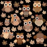 Cute owls seamless background royalty free illustration