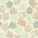 Cute owls in a seamless pattern Stock Photos
