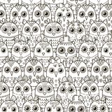 Cute owls seamless pattern. Black and white background Royalty Free Stock Images