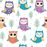 Cute owls seamless pattern Stock Photography