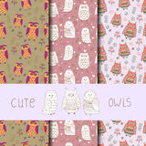 Cute owls seamless pattern. Set of vector backgrounds Royalty Free Stock Photography