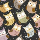 Cute owls seamless pattern. Vector texture Royalty Free Stock Photo