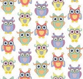 Cute owls seamless vector pattern Stock Photos