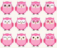 Cute owls set. Cute colorful owls set with different facial expression Stock Illustration