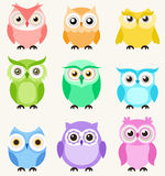 Cute owls set. Cute colorful owls set in 9 styles Royalty Free Stock Photo